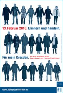 Plakat für die Menschenkette Für mein Dresden zum 13. Februar