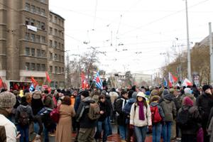 friedliche Blockade auf dem Albertplatz 2010 wegen dem Naziaufmrasch in Dresden