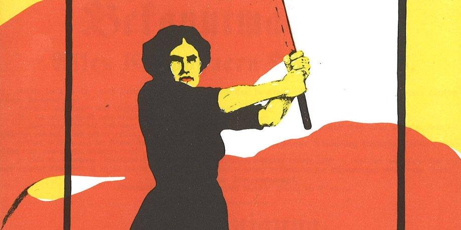 Das Bild zeigt einen Ausschnitt eines Plakats zum Internationalen Frauentag 1914 (zu sehen ist die Zeichnung einer Frau mit roter Fahne in der Hand)